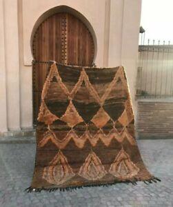 Rare 1940s Moroccan Rug Mesiwa Tribe Natural Dyed Earth Tones 6' x 7.5'