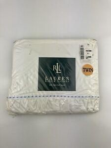 Ralph Lauren Elizabeth Street Ruffled Twin Flat Sheet White Blue Dot NIP USA