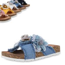 Damen Sandalen Pantoletten Hausschuhe Blumen Fransen Schuhe 899938 Top