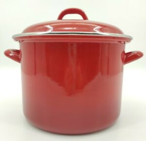 Vintage Retro SWAN Red Aluminium Enamel Lidded Casserole Pot Festive Cooking