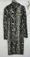Zara Dress Size Small Womens Midi Animal Snakeskin Print Bodycon Ribbed HOT