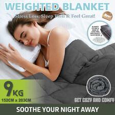 9KG Weighted Blanket Cotton Heavy Gravity Deep Relax Adult Dark Grey