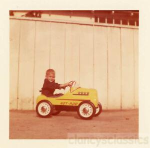 1960 Cute Little Boy Rides Garton Hot Rod Toy Pedal Car