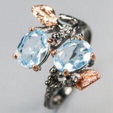 Natural Design Natural Blue Topaz Ring Sterling silver 925 Thail Vintage/ RVS339
