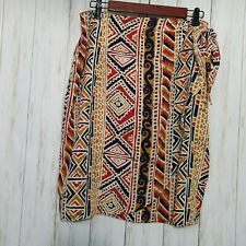 Amber Stone Silk Tribal Print Wrap Skirt Size 14 Multicolored