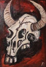 Vintage Expressionist oil painting still life with skull signed