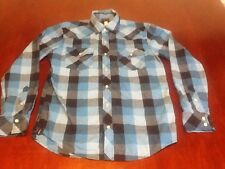 Hawk Women Shirt Small Blue Black Plaid Buffalo Pearl Snaps Long Sleeve EUC