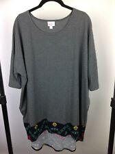 Lularoe NWT Irma XL XLarge Dark Grey with Split Bottom Aztec Print