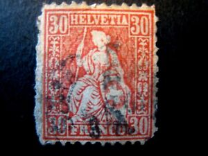 1862 Switzerland S# 46,  30 Centimes Vermillion, Used