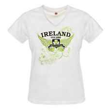 Ladies Fitted V-Neck T-Shirt With Ireland Wings Print, White Colour