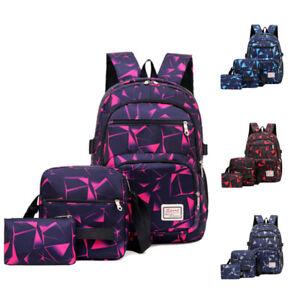 School Bag 3Pcs Set Large Camouflage Backpack Girls Boys Travel Rucksack Bag UK