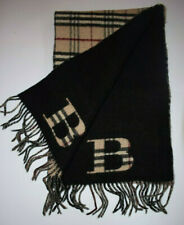 Large Vintage Burberry Scarf, Double Sided, Black/Nova Check. Merino/Cashmere