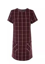New Look - Burgundy / Wine Check Double Pocket Tunic Dress BNWT SIZE 06