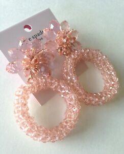 Kate Spade New York Blush Pink Flower Hoop Earrings Kate Spade Pouch NWT