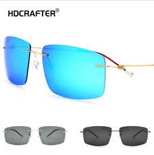 Men's Titanium Alloy Rimless Polarized Sunglasses Outdoor Driving Square Glasses