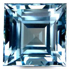 6.15Cts Impressive Fire Natural Sky Blue Topaz 10mm Square Cut Nice Gemstone