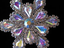 """PRONG SET SILVER AB CLEAR PEAR RHINESTONE FLOWER SNOWFLAKE PIN BROOCH JEWELRY 2"""""""