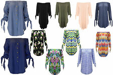 Ladies Off The Shoulder Women Blouse Cropped Tie Up Sleeves New Top Shirt Dress