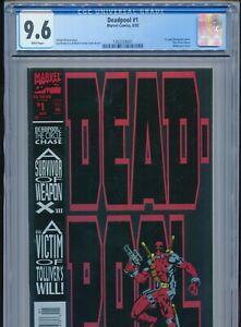 1993 MARVEL DEADPOOL #1 CIRCLE CHASE 1ST SOLO COMIC CGC 9.6 WHITE BOX1