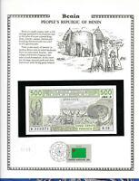 Benin West African Banknote 500 Francs 1984 P 206Bg UNC w/FDI UN FLAG STAMP