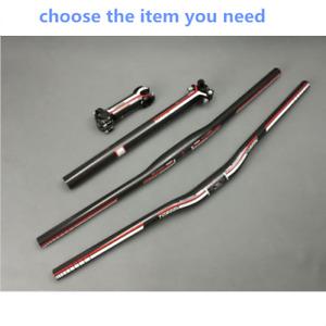Carbon Fiber MTB Bike Handlebar Flat/Riser Bar & Seatpost & Bicycle Bar Stem Set