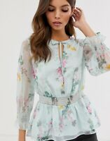 Ted Baker Klarra Floral Ruffle Blouse Size 1 UK 8 RRP £119 Sheer Top