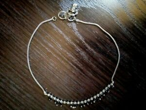 Vintage Anklet Handmade silver 925 decorated with black beads and bells