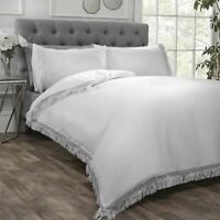 LACE FRINGE TRIM WHITE COTTON BLEND KING SIZE DUVET COVER