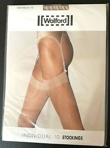 Wolford premium INDIVIDUAL 10 stockings, size large; colour Cosmetic (beige)