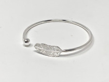 925 Sterling Silver Bangle Feather Cuff Ball Bangle Angel Adjustable Bracelet