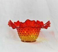 Fenton Hobnail Double Crimped Edge Bowl - Colonial Orange / Amberina - Vintage