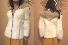 Vtg 70s 80s Creamy Ivory Rabbit Fox Fur Hooded Fall Bomber Jacket Snow Bunny S