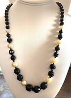 """Vintage Necklace Antique Art DECO Faceted Black Jet Glass & Faux Pearl 24"""" B5"""
