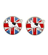 Cartoon English Bull Terrier Union Jack Dog Mens Cufflinks Birthday Gift C603