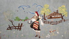 Vintage Folk Motive Landscape Tapestry Gobelin