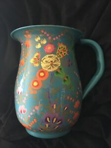 Enamel Hand Painted Stainless St Water Jug  Vase. Floral Turquoise Kashmir Boho