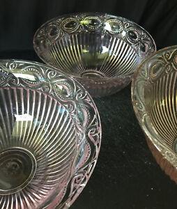 Vintage Pink Eyewinker Pressed Glass 3 Bowl Set Shabby Chic Vintage Cottage.