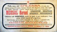 Pubblicità d'Epoca Neosal - Segal Laboratorio Baroni Epilessia Insonnia Ipnotico