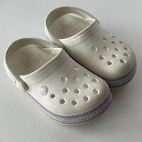 Toddler Girls Crocs Slip On Clog Style Shoes size 7 White Pink Blue Band Child