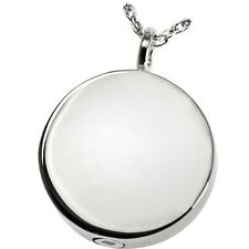 Round Circle Ash Holder Cremation Urn Keepsake Pendant Necklace 950 Platinum