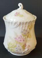 Vintage Or Antique Bavarian China Porcelain Biscuit Jar With Lid Germany Floral