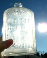 64oz Durfee Embalming Co. Grand Rapids, MI Embalming Fluid/POISON Bottle/ Jar
