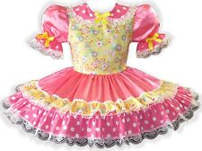 """""""Molly"""" CUSTOM FIT Pink Satin Yellow Bows Adult Little Girl Sissy Dress LEANNE"""