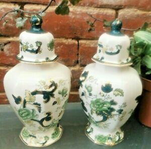 PAIR VINTAGE MASONS IRONSTONE CHARTREUSE TOKYO VASES WITH LIDS, GOOD CONDITION