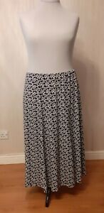 *VGC* Black White Purple Long Maxi Skirt Size 22 - Elasticated Waist Stretch