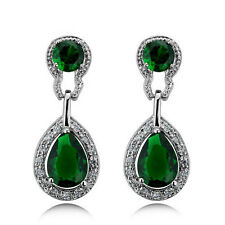 Vintage Design Long Luxury Teardrop Silver & Emerald Green Drop Earrings E518