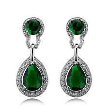 Design Vintage Lungo Lusso A Goccia Argento E Verde Smeraldo Orecchini Pendenti E518