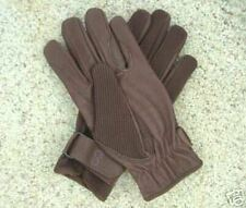 Leather & knit horseback riding driving gloves Brown Xs