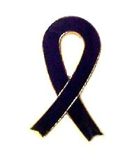 Black Awareness Ribbon Lapel Pin Funeral Memory Melanoma POW MIA Sleep Apnea