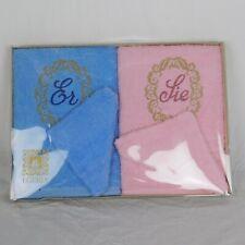 Egeria His & Hers Hand Towel Set German Er & Sie Blue & Pink Wash mitt Nos
